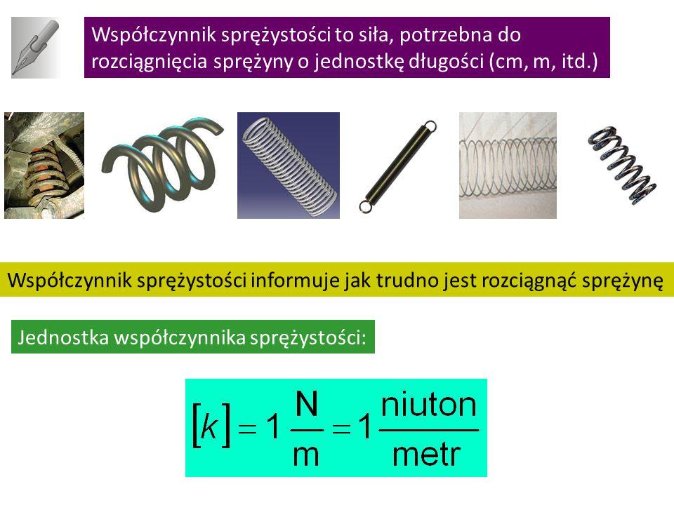 Współczynnik sprężystości to siła, potrzebna do rozciągnięcia sprężyny o jednostkę długości (cm, m, itd.) Współczynnik sprężystości informuje jak trudno jest rozciągnąć sprężynę Jednostka współczynnika sprężystości: