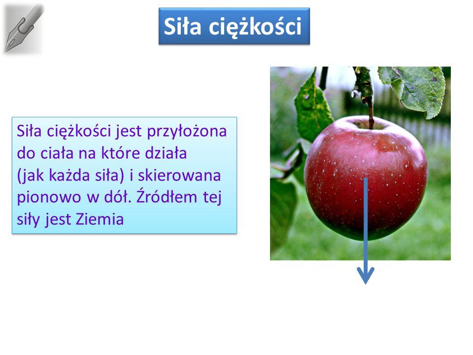 Siła ciężkości Siła ciężkości jest przyłożona do ciała na które działa (jak każda siła) i skierowana pionowo w dół.