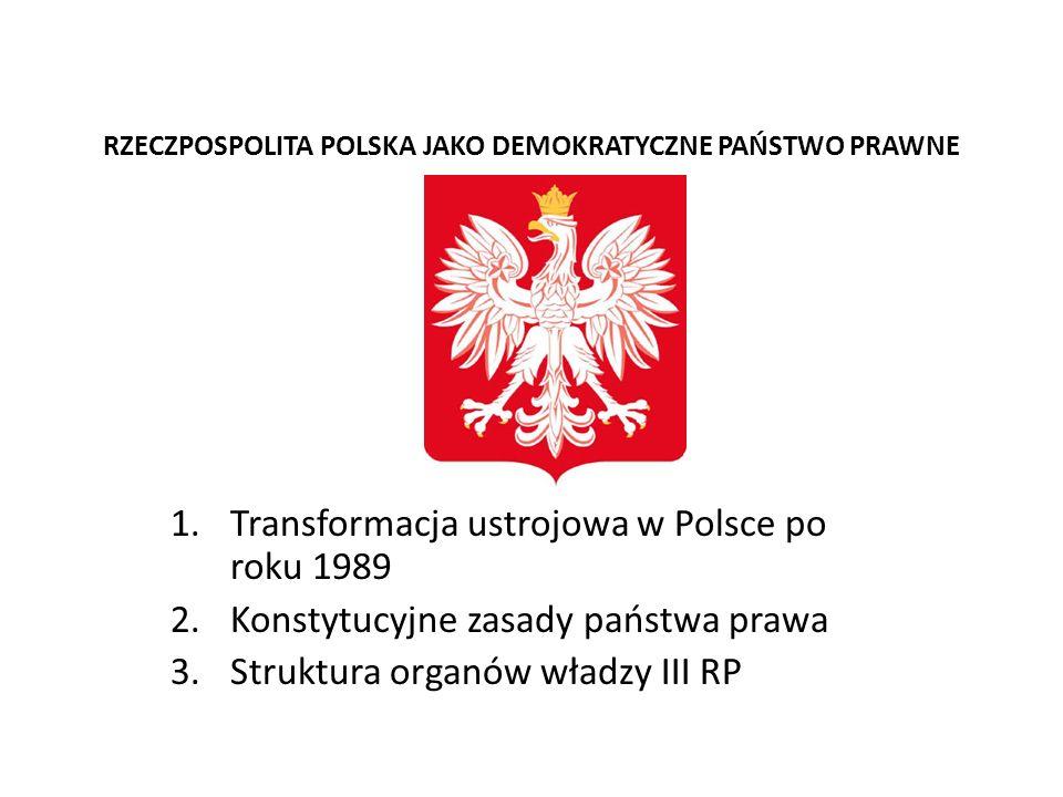 RZECZPOSPOLITA POLSKA JAKO DEMOKRATYCZNE PAŃSTWO PRAWNE 1.Transformacja ustrojowa w Polsce po roku 1989 2.Konstytucyjne zasady państwa prawa 3.Struktu