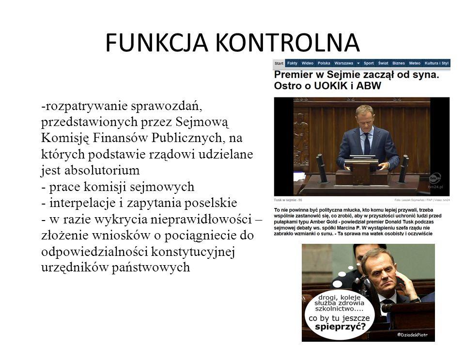 FUNKCJA KONTROLNA -rozpatrywanie sprawozdań, przedstawionych przez Sejmową Komisję Finansów Publicznych, na których podstawie rządowi udzielane jest a