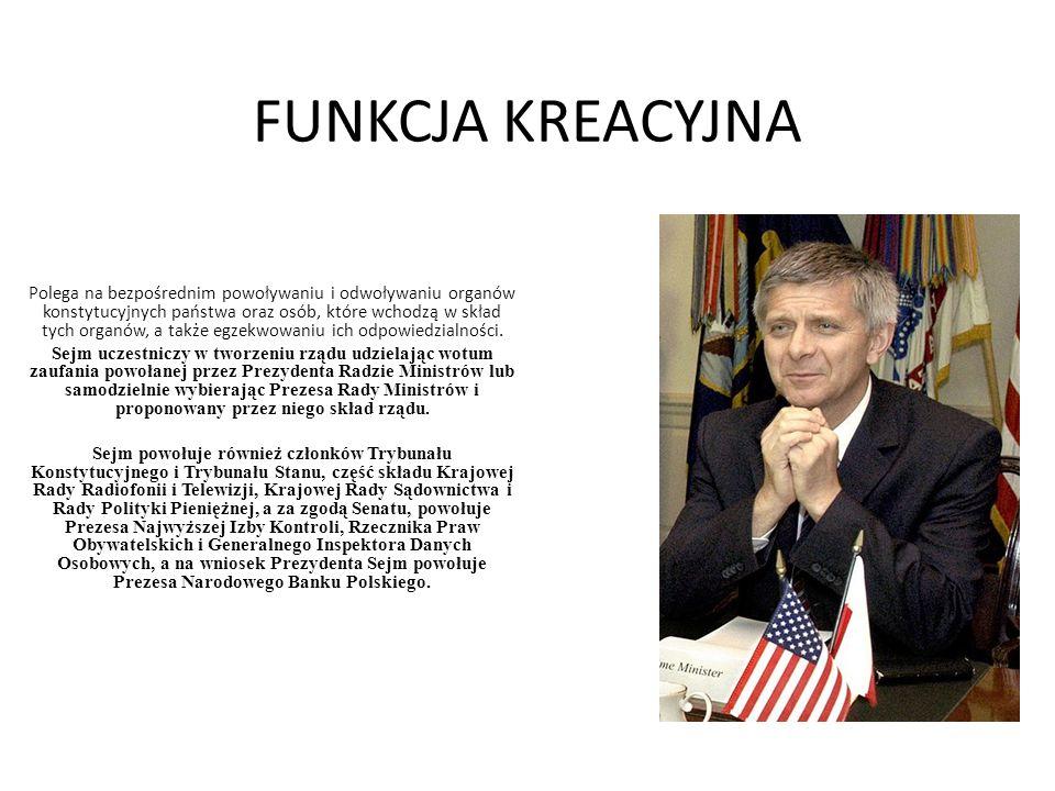 Funkcje Senatu -opiniowanie ustaw uchwalanych przez Sejm, wnoszenie poprawek lub odrzucanie przedstawionych ustaw w całości, -- udział w powoływaniu organów państwa – Rzecznika Praw Obywatelskich, PrezesaNajwyższej Izby Kontroli, Krajowej Rady Radiofonii i Telewizji oraz Krajowej RadySądownictwa, -- inicjatywa ustawodawcza jest konstytucyjnym prawem Senatu do tworzenianowych ustaw.