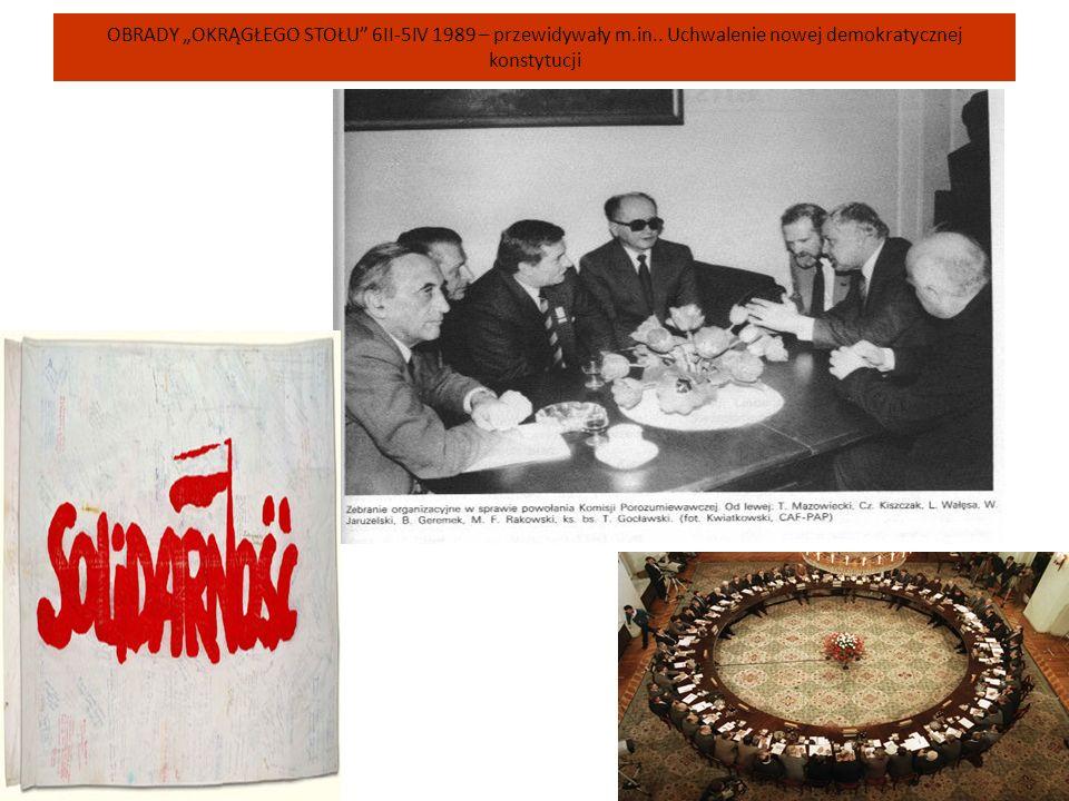 """OBRADY """"OKRĄGŁEGO STOŁU"""" 6II-5IV 1989 – przewidywały m.in.. Uchwalenie nowej demokratycznej konstytucji"""