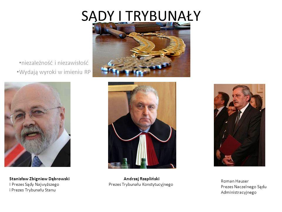 SĄDY I TRYBUNAŁY niezależność i niezawisłość Wydają wyroki w imieniu RP Stanisław Zbigniew Dąbrowski I Prezes Sądy Najwyższego i Prezes Trybunału Stan