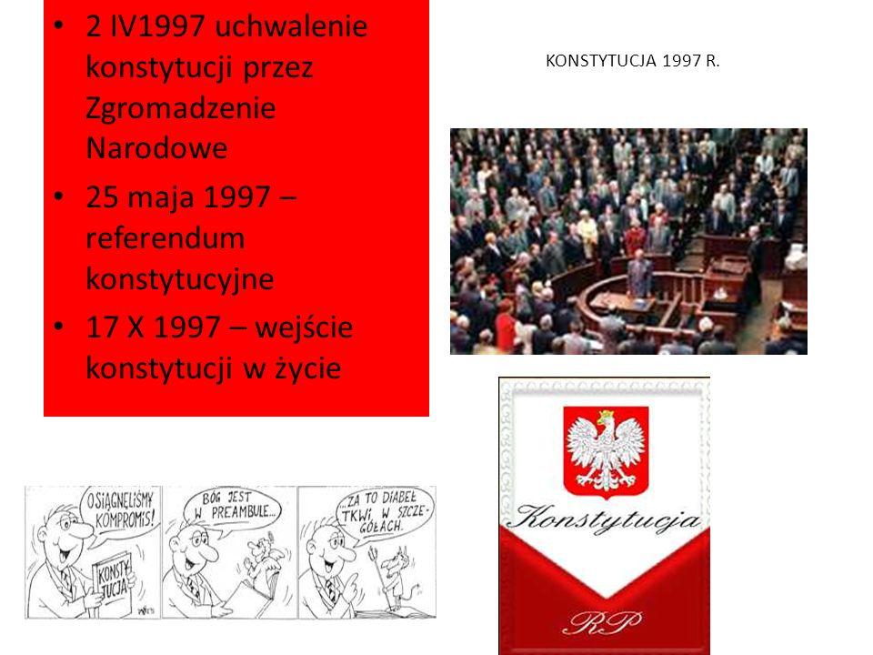 KONSTYTUCJA 1997 R. 2 IV1997 uchwalenie konstytucji przez Zgromadzenie Narodowe 25 maja 1997 – referendum konstytucyjne 17 X 1997 – wejście konstytucj