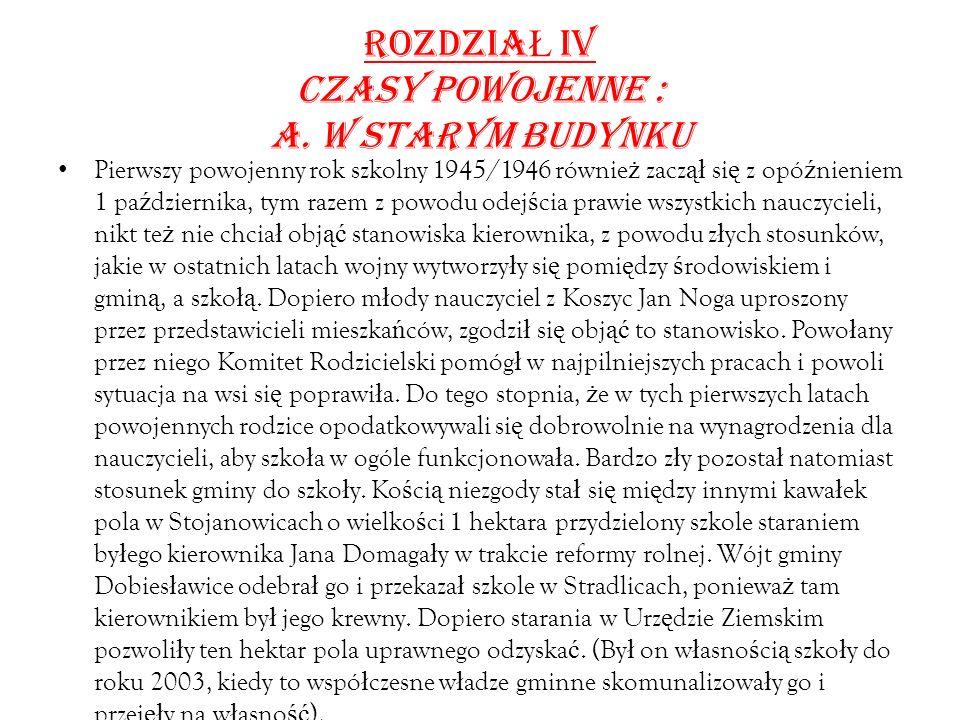 ROZDZIA Ł IV CZASY POWOJENNE : a.