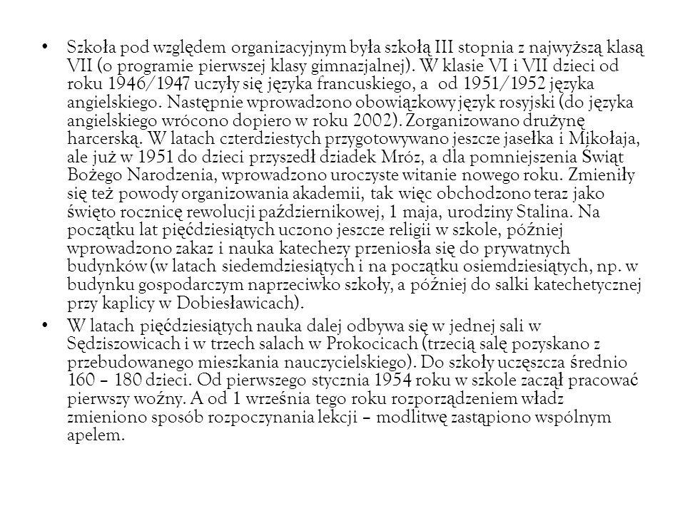 Szko ł a pod wzgl ę dem organizacyjnym by ł a szko łą III stopnia z najwy ż sz ą klas ą VII (o programie pierwszej klasy gimnazjalnej).