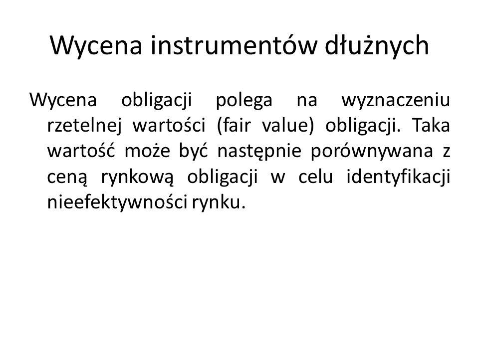 Wycena instrumentów dłużnych Wycena obligacji polega na wyznaczeniu rzetelnej wartości (fair value) obligacji.