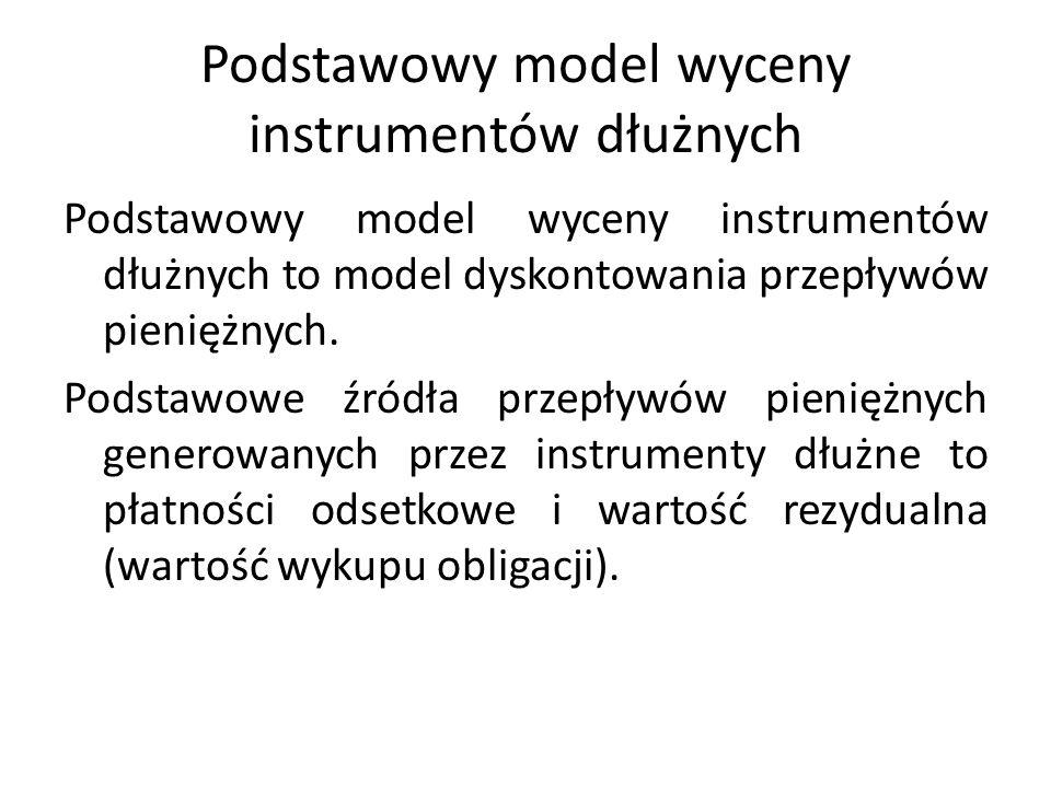 Podstawowy model wyceny instrumentów dłużnych Podstawowy model wyceny instrumentów dłużnych to model dyskontowania przepływów pieniężnych.