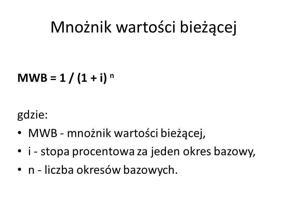 Mnożnik wartości bieżącej MWB = 1 / (1 + i) n gdzie: MWB - mnożnik wartości bieżącej, i - stopa procentowa za jeden okres bazowy, n - liczba okresów bazowych.