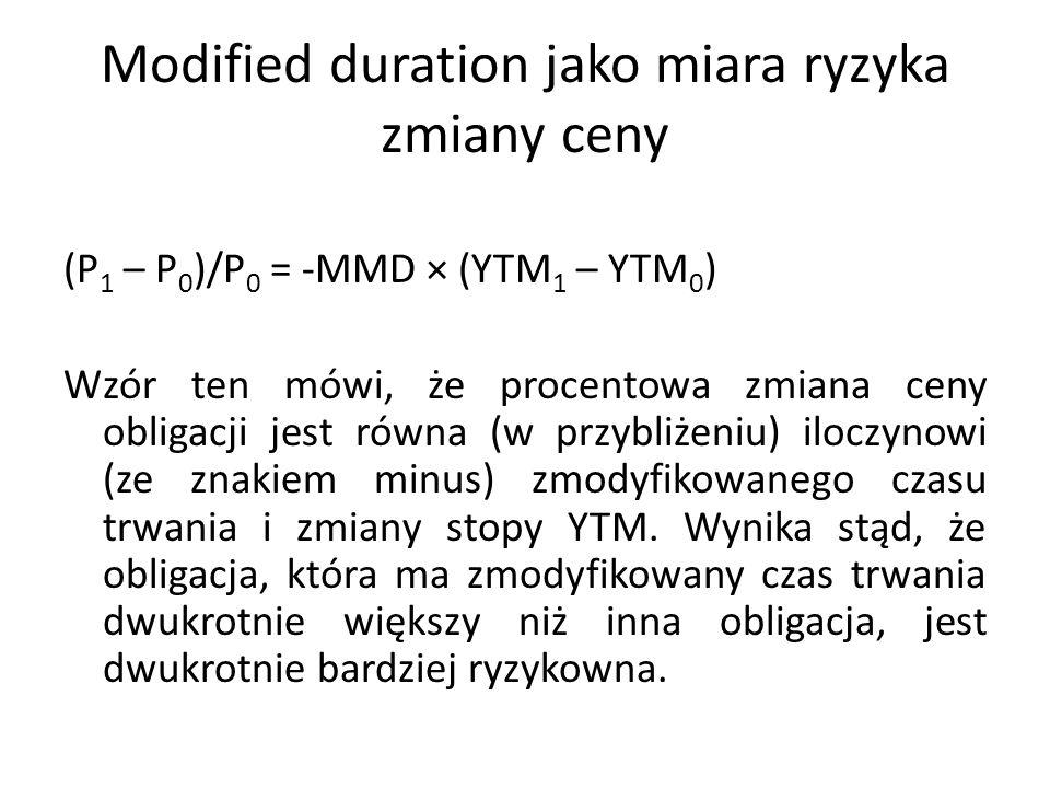Modified duration jako miara ryzyka zmiany ceny (P 1 – P 0 )/P 0 = -MMD × (YTM 1 – YTM 0 ) Wzór ten mówi, że procentowa zmiana ceny obligacji jest równa (w przybliżeniu) iloczynowi (ze znakiem minus) zmodyfikowanego czasu trwania i zmiany stopy YTM.
