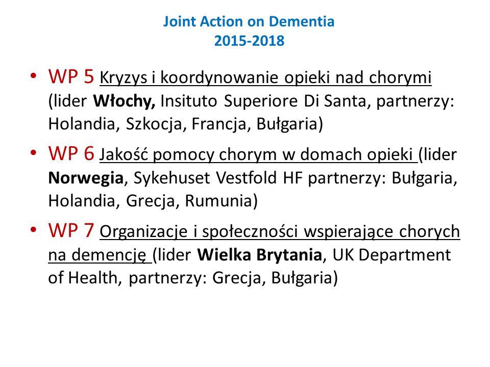 Joint Action on Dementia 2015-2018 WP 5 Kryzys i koordynowanie opieki nad chorymi (lider Włochy, Insituto Superiore Di Santa, partnerzy: Holandia, Szkocja, Francja, Bułgaria) WP 6 Jakość pomocy chorym w domach opieki (lider Norwegia, Sykehuset Vestfold HF partnerzy: Bułgaria, Holandia, Grecja, Rumunia) WP 7 Organizacje i społeczności wspierające chorych na demencję (lider Wielka Brytania, UK Department of Health, partnerzy: Grecja, Bułgaria)