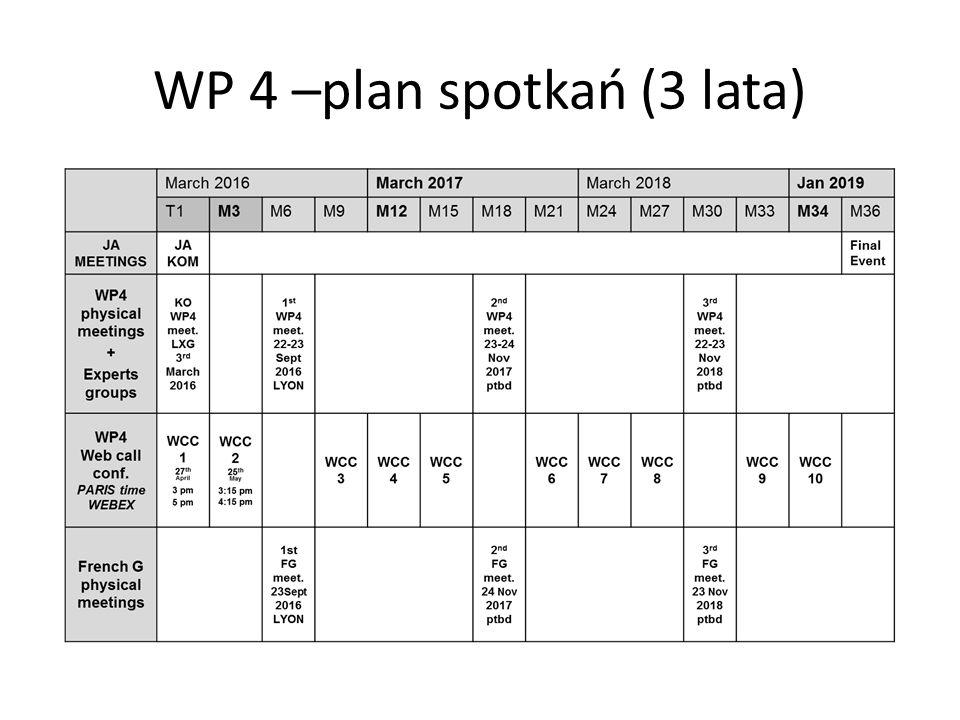 WP 4 –plan spotkań (3 lata)
