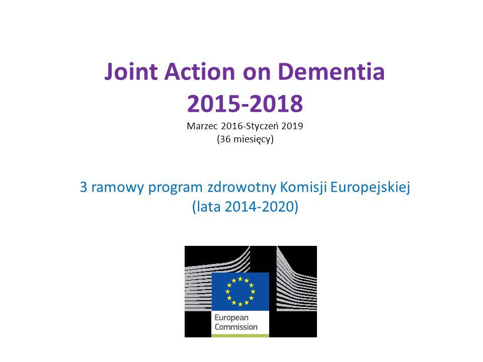 Joint Action on Dementia 2015-2018 Marzec 2016-Styczeń 2019 (36 miesięcy) 3 ramowy program zdrowotny Komisji Europejskiej (lata 2014-2020)