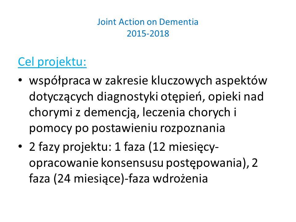 Joint Action on Dementia 2015-2018 Cel projektu: współpraca w zakresie kluczowych aspektów dotyczących diagnostyki otępień, opieki nad chorymi z demencją, leczenia chorych i pomocy po postawieniu rozpoznania 2 fazy projektu: 1 faza (12 miesięcy- opracowanie konsensusu postępowania), 2 faza (24 miesiące)-faza wdrożenia