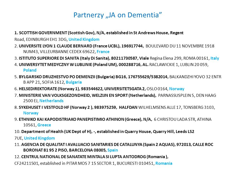 "Partnerzy ""JA on Dementia 1."