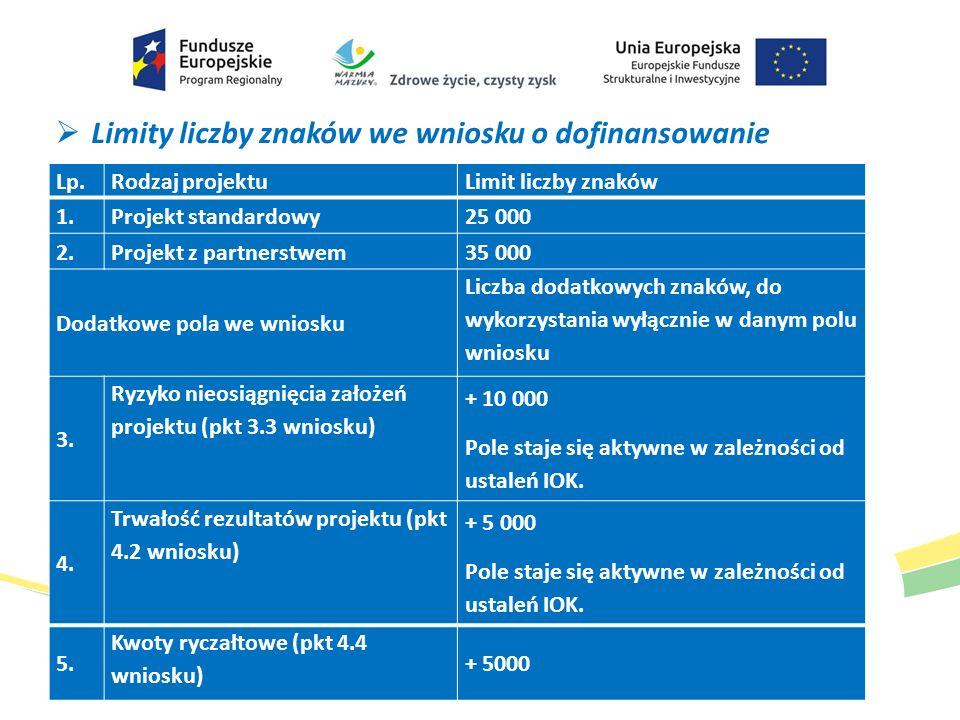  Limity liczby znaków we wniosku o dofinansowanie Lp.Rodzaj projektuLimit liczby znaków 1. Projekt standardowy25 000 2. Projekt z partnerstwem35 000