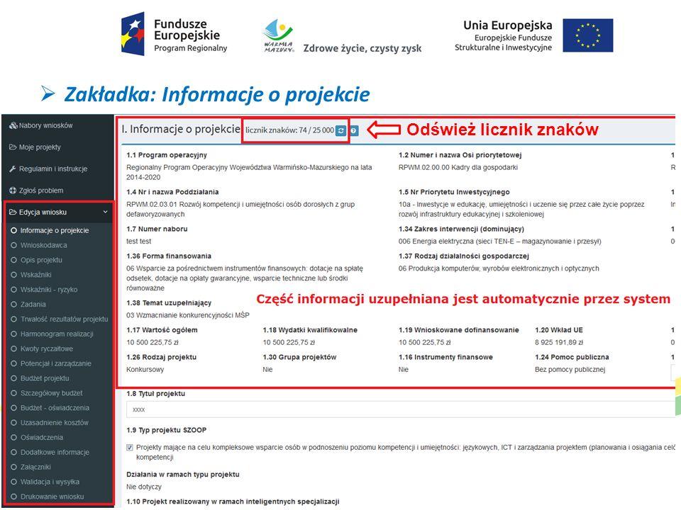  Zakładka: Informacje o projekcie Odśwież licznik znaków