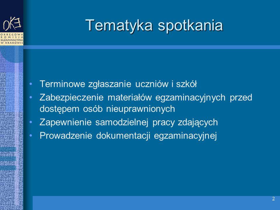 Tematyka spotkania Terminowe zgłaszanie uczniów i szkół Zabezpieczenie materiałów egzaminacyjnych przed dostępem osób nieuprawnionych Zapewnienie samodzielnej pracy zdających Prowadzenie dokumentacji egzaminacyjnej 2