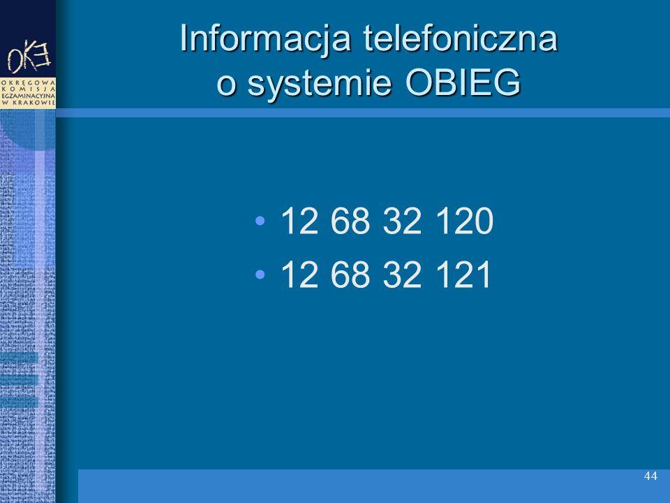 Informacja telefoniczna o systemie OBIEG 12 68 32 120 12 68 32 121 44