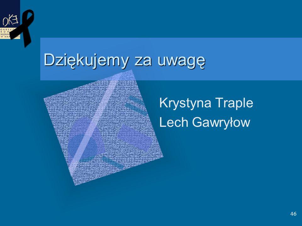 Dziękujemy za uwagę Krystyna Traple Lech Gawryłow 46