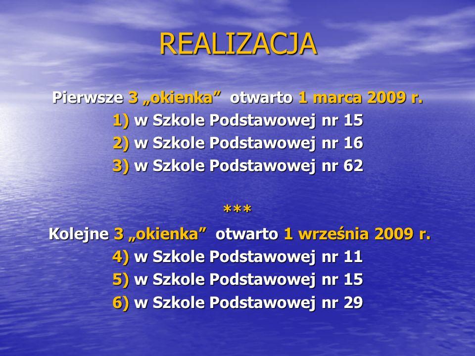 """REALIZACJA Pierwsze 3 """"okienka otwarto 1 marca 2009 r."""