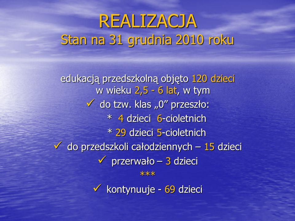 """REALIZACJA Stan na 31 grudnia 2010 roku edukacją przedszkolną objęto 120 dzieci w wieku 2,5 - 6 lat, w tym do tzw. klas """"0"""" przeszło: do tzw. klas """"0"""""""