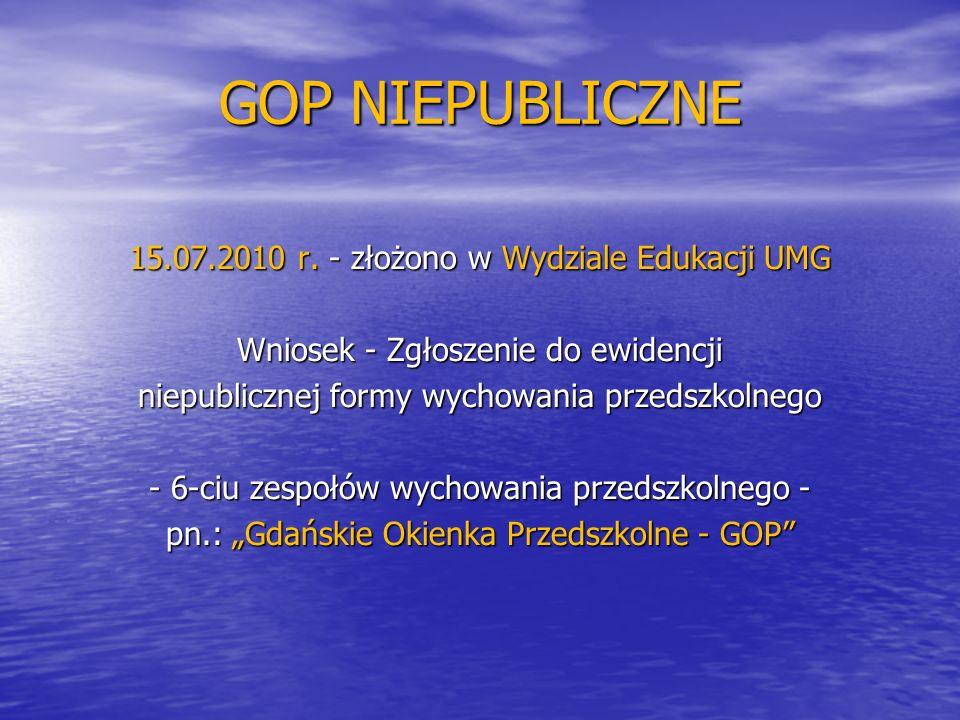 GOP NIEPUBLICZNE 15.07.2010 r. - złożono w Wydziale Edukacji UMG Wniosek - Zgłoszenie do ewidencji niepublicznej formy wychowania przedszkolnego - 6-c