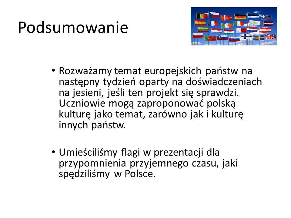 Podsumowanie Rozważamy temat europejskich państw na następny tydzień oparty na doświadczeniach na jesieni, jeśli ten projekt się sprawdzi.