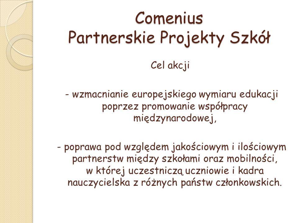 Comenius Partnerskie Projekty Szkół Cel akcji - wzmacnianie europejskiego wymiaru edukacji poprzez promowanie współpracy międzynarodowej, - poprawa pod względem jakościowym i ilościowym partnerstw między szkołami oraz mobilności, w której uczestniczą uczniowie i kadra nauczycielska z różnych państw członkowskich.