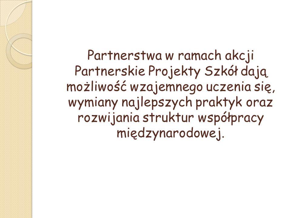 Partnerstwa w ramach akcji Partnerskie Projekty Szkół dają możliwość wzajemnego uczenia się, wymiany najlepszych praktyk oraz rozwijania struktur współpracy międzynarodowej.