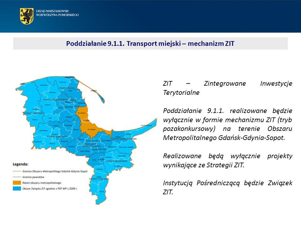 Poddziałanie 9.1.1. Transport miejski – mechanizm ZIT ZIT – Zintegrowane Inwestycje Terytorialne Poddziałanie 9.1.1. realizowane będzie wyłącznie w fo
