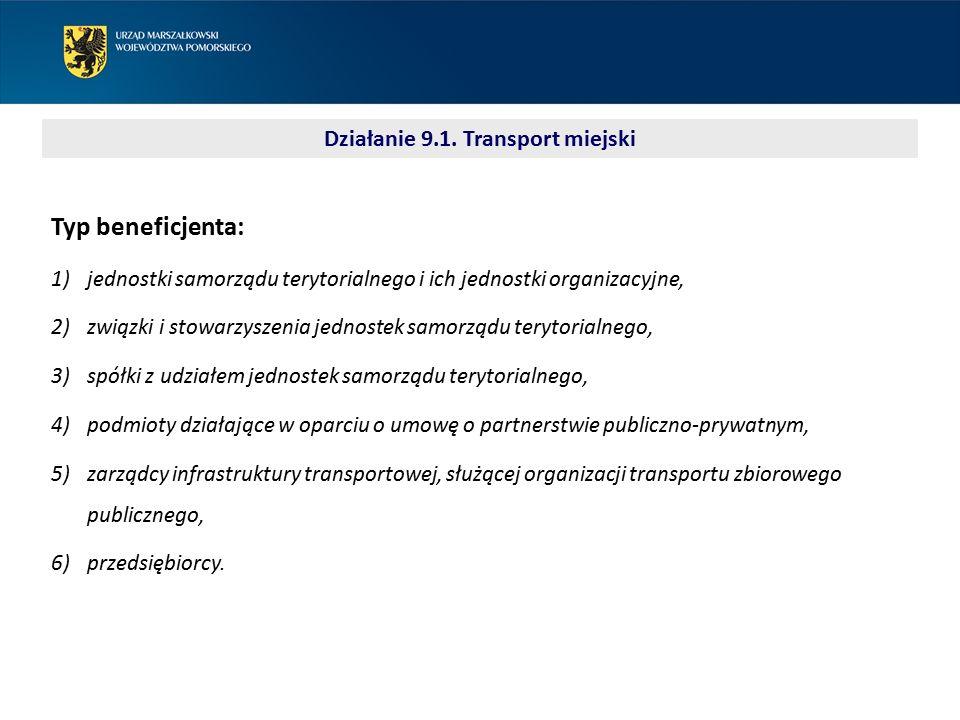 Typ beneficjenta: 1)jednostki samorządu terytorialnego i ich jednostki organizacyjne, 2)związki i stowarzyszenia jednostek samorządu terytorialnego, 3)spółki z udziałem jednostek samorządu terytorialnego, 4)podmioty działające w oparciu o umowę o partnerstwie publiczno-prywatnym, 5)zarządcy infrastruktury transportowej, służącej organizacji transportu zbiorowego publicznego, 6)przedsiębiorcy.