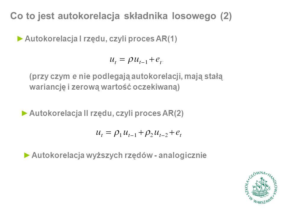 Co to jest autokorelacja składnika losowego (2) ►Autokorelacja I rzędu, czyli proces AR(1) (przy czym e nie podlegają autokorelacji, mają stałą warian