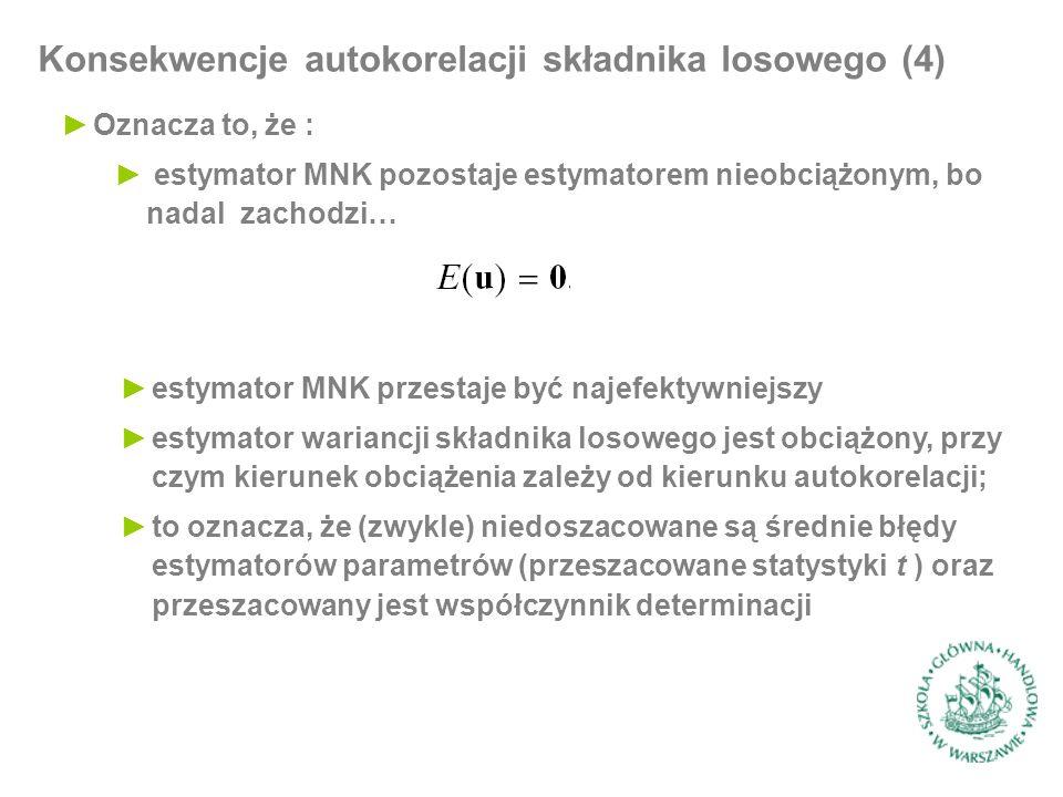 Konsekwencje autokorelacji składnika losowego (4) ►Oznacza to, że : ► estymator MNK pozostaje estymatorem nieobciążonym, bo nadal zachodzi… ►estymator