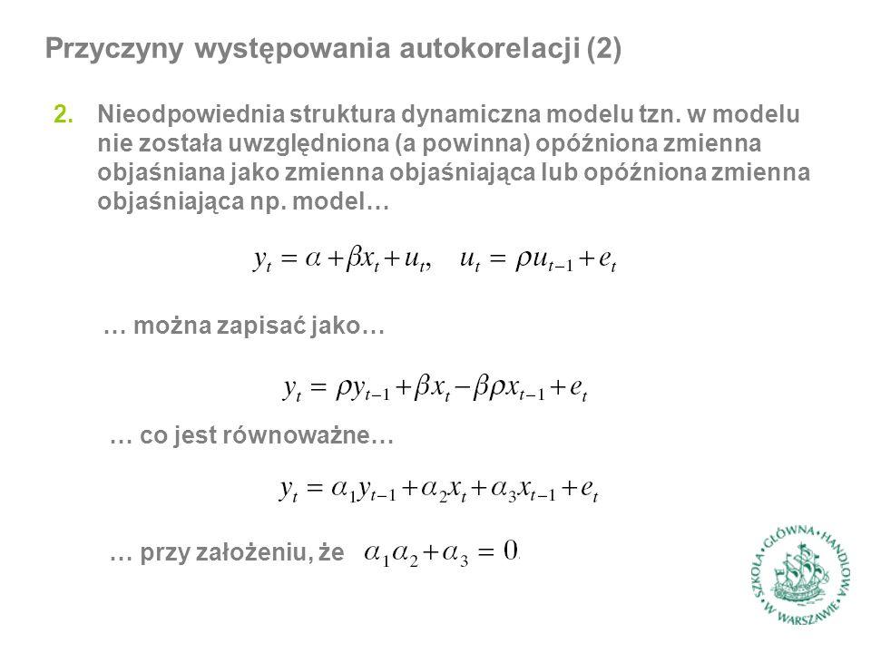 2.Nieodpowiednia struktura dynamiczna modelu tzn. w modelu nie została uwzględniona (a powinna) opóźniona zmienna objaśniana jako zmienna objaśniająca