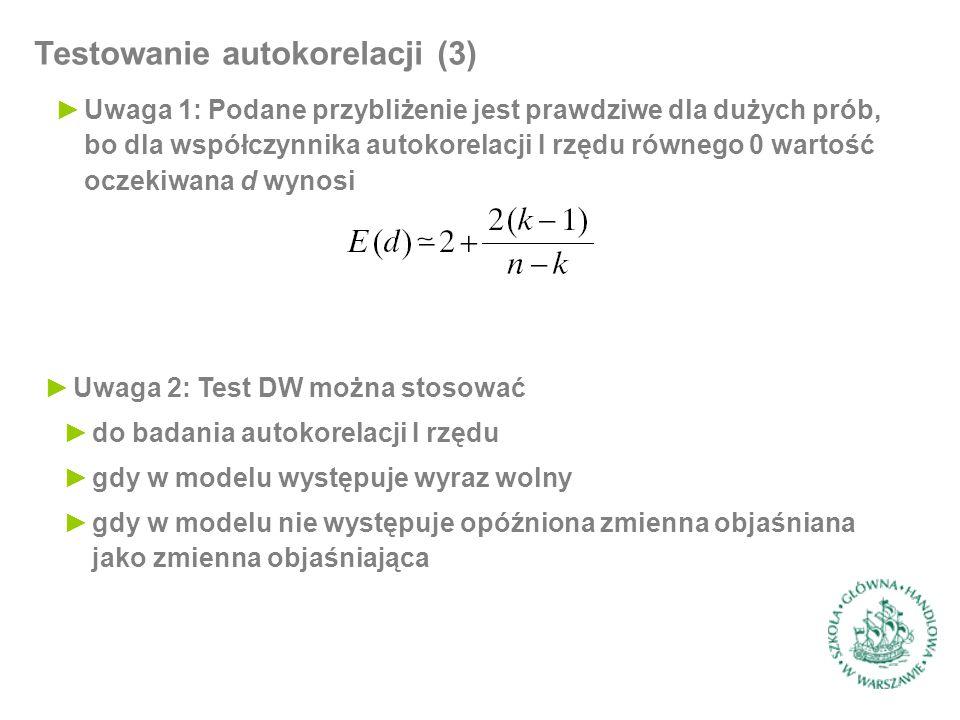 Testowanie autokorelacji (3) ►Uwaga 1: Podane przybliżenie jest prawdziwe dla dużych prób, bo dla współczynnika autokorelacji I rzędu równego 0 wartoś