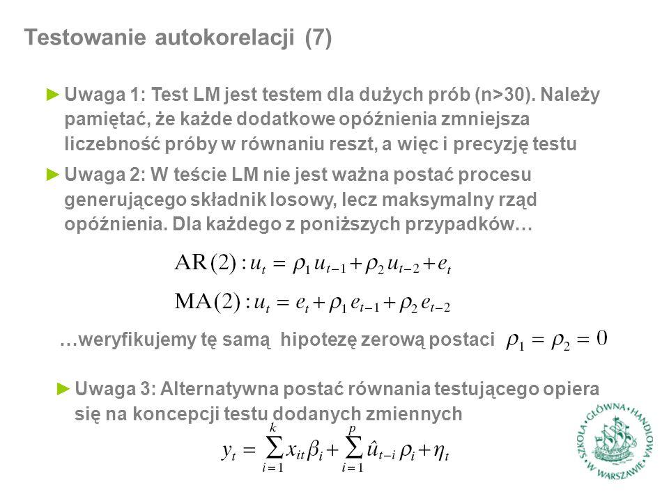 Testowanie autokorelacji (7) ►Uwaga 1: Test LM jest testem dla dużych prób (n>30). Należy pamiętać, że każde dodatkowe opóźnienia zmniejsza liczebność