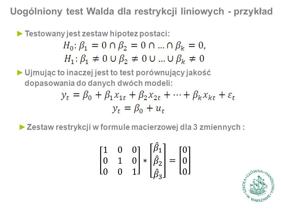 Uogólniony test Walda dla restrykcji liniowych - przykład ►Testowany jest zestaw hipotez postaci: ►Ujmując to inaczej jest to test porównujący jakość