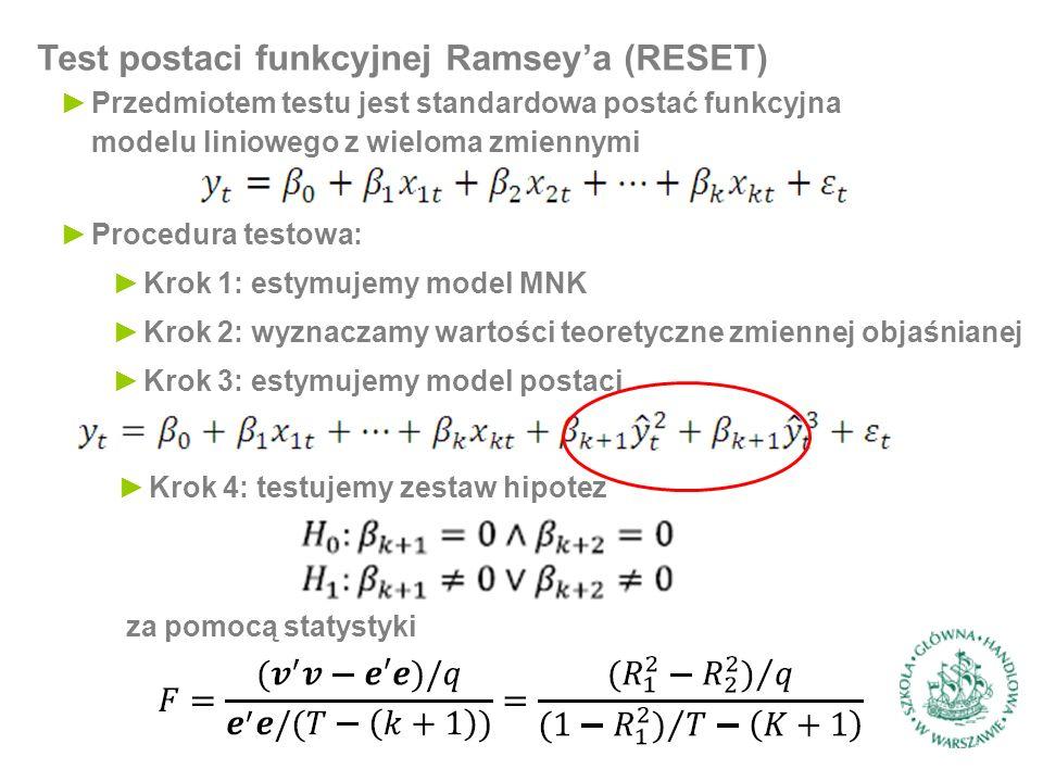 Test postaci funkcyjnej Ramsey'a (RESET) ►Przedmiotem testu jest standardowa postać funkcyjna modelu liniowego z wieloma zmiennymi ►Procedura testowa: