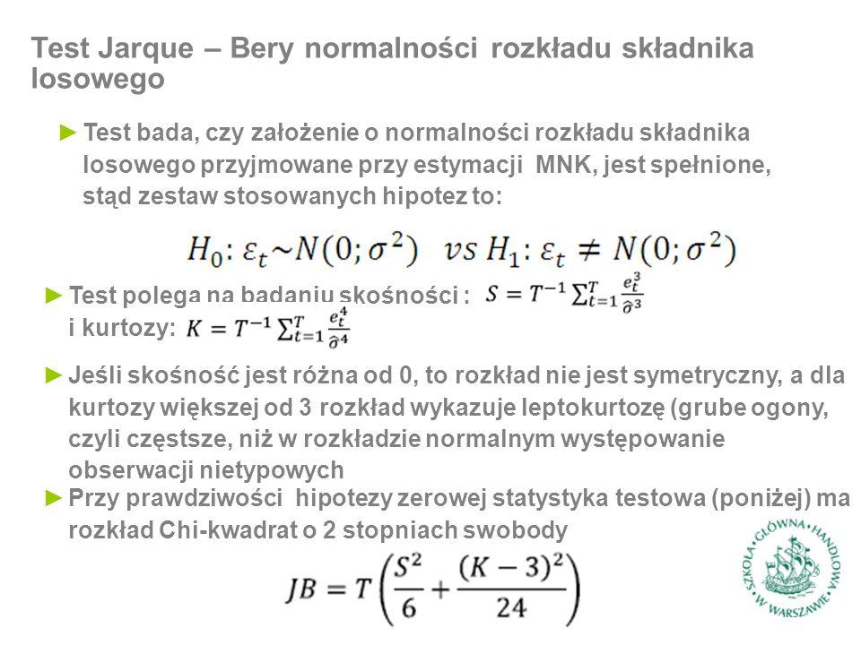 ►Test bada, czy założenie o normalności rozkładu składnika losowego przyjmowane przy estymacji MNK, jest spełnione, stąd zestaw stosowanych hipotez to