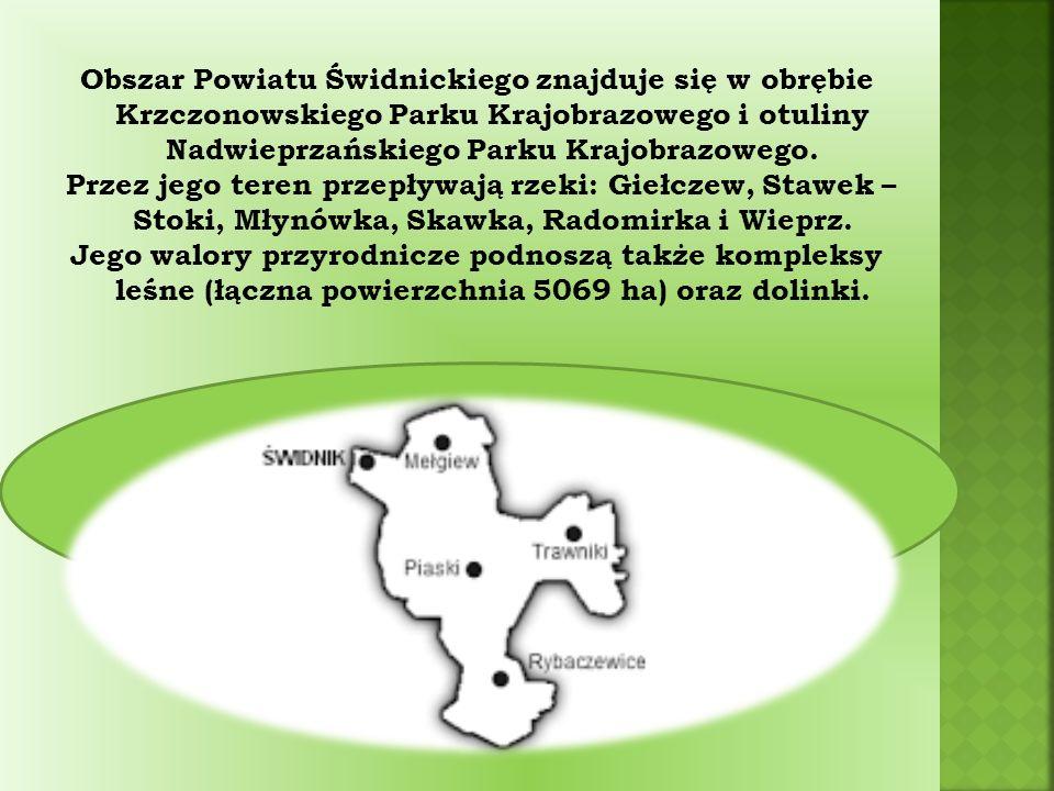 Obszar Powiatu Świdnickiego znajduje się w obrębie Krzczonowskiego Parku Krajobrazowego i otuliny Nadwieprzańskiego Parku Krajobrazowego.