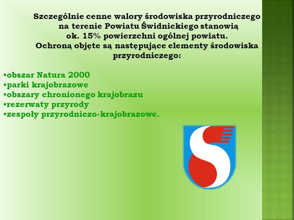 Szczególnie cenne walory środowiska przyrodniczego na terenie Powiatu Świdnickiego stanowią ok.