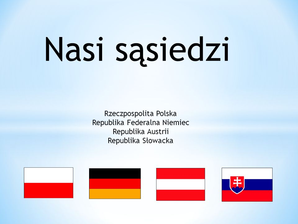 Nasi sąsiedzi Rzeczpospolita Polska Republika Federalna Niemiec Republika Austrii Republika Słowacka