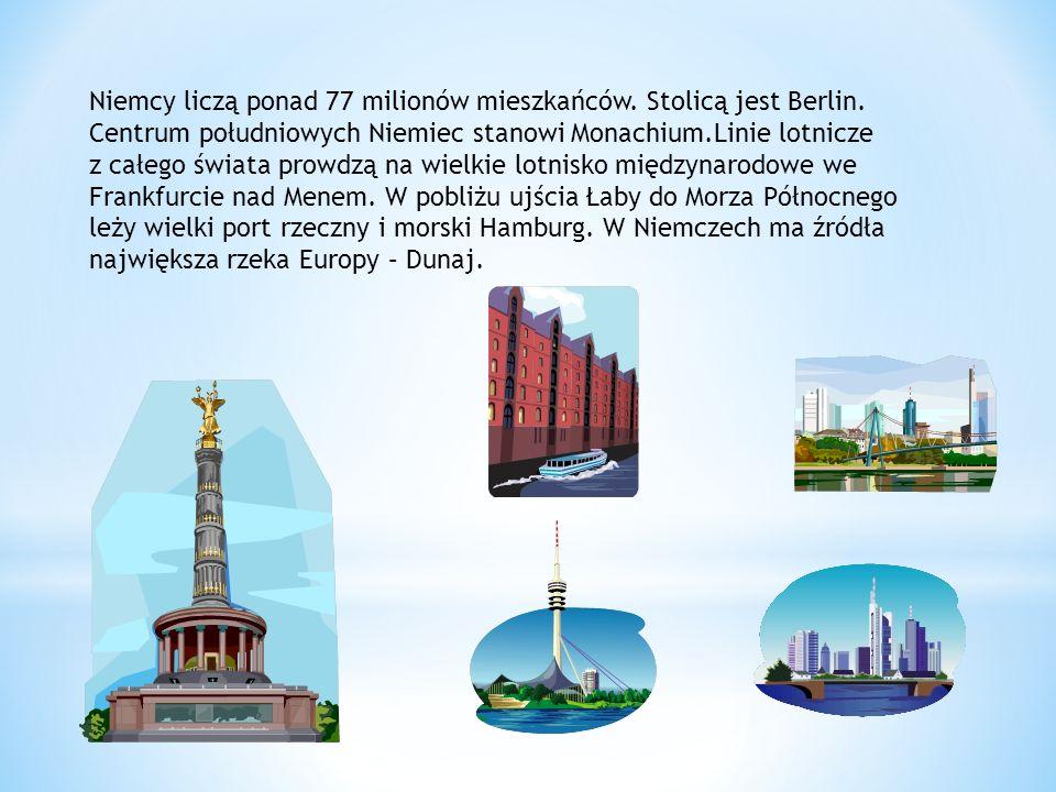 Niemcy liczą ponad 77 milionów mieszkańców. Stolicą jest Berlin.