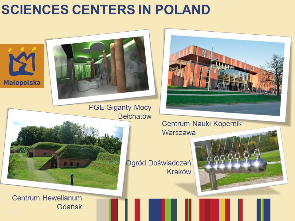 SCIENCES CENTERS IN POLAND Centrum Hewelianum Gdańsk PGE Giganty Mocy Bełchatów Centrum Nauki Kopernik Warszawa Ogród Doświadczeń Kraków