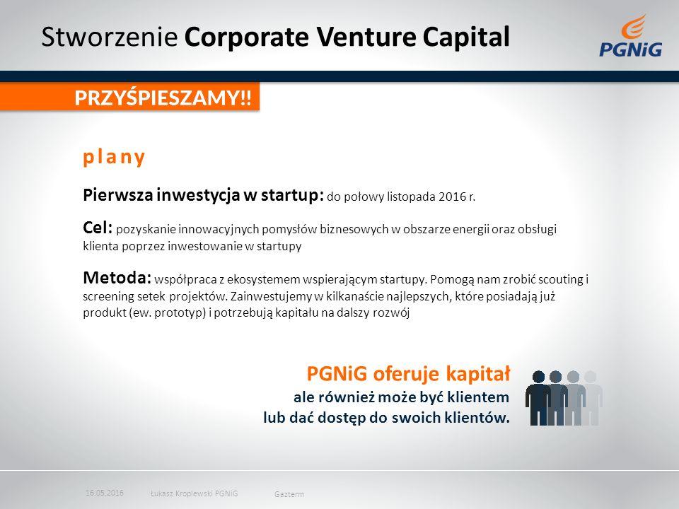 Stworzenie Corporate Venture Capital Pierwsza inwestycja w startup: do połowy listopada 2016 r.