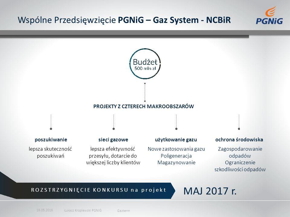 Wspólne Przedsięwzięcie PGNiG – Gaz System - NCBiR poszukiwaniesieci gazoweużytkowanie gazuochrona środowiska lepsza skuteczność poszukiwań lepsza efektywność przesyłu, dotarcie do większej liczby klientów Zagospodarowanie odpadów Ograniczenie szkodliwości odpadów Nowe zastosowania gazu Poligeneracja Magazynowanie ROZSTRZYGNIĘCIE KONKURSU na projekt MAJ 2017 r.