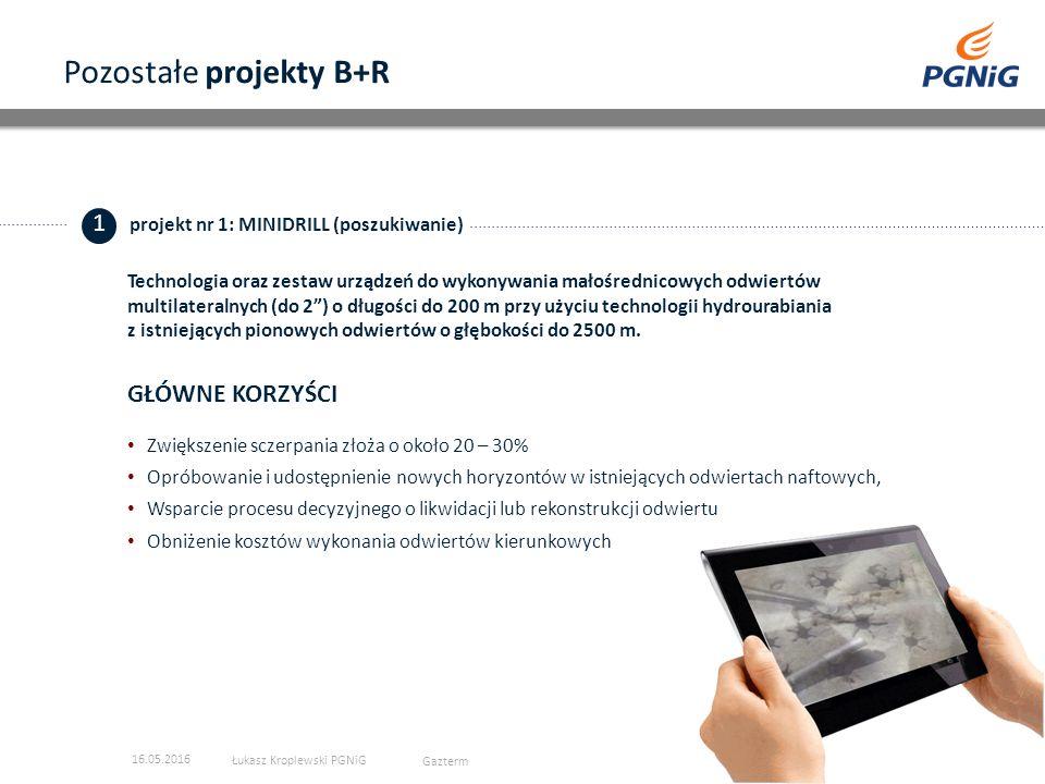 Pozostałe projekty B+R 2 projekt nr 2: TURBOEKSPANDER (dodatkowa energia) GŁÓWNE KORZYŚCI Znaczna redukcja emisji CO 2 Zmniejszenie emisji hałasu o 20% w stosunku do konkurencyjnych urządzeń Produkcja dodatkowej energii elektrycznej 16.05.2016 Łukasz Kroplewski PGNiG Gazterm