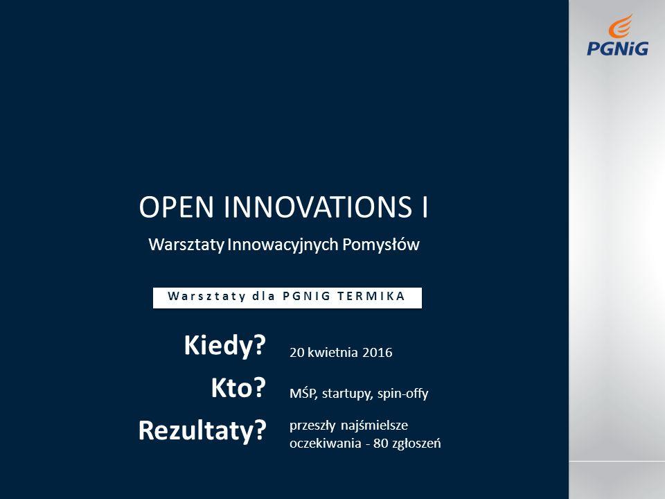 Jakaś stopkadatanazwisko prowadzącego tytuł imprezy OPEN INNOVATIONS I Warsztaty Innowacyjnych Pomysłów Warsztaty dla PGNIG TERMIKA Kiedy.