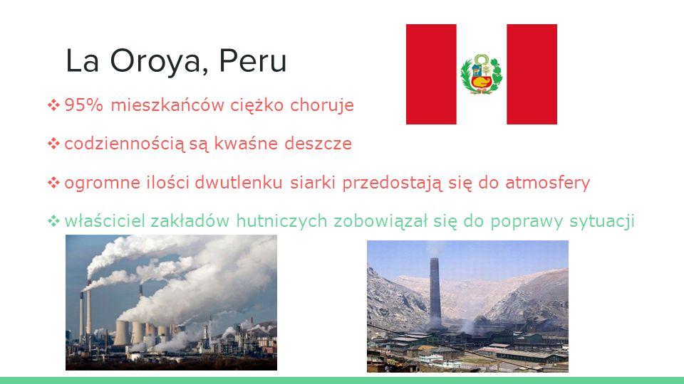 La Oroya, Peru ❖ 95% mieszkańców ciężko choruje ❖ codziennością są kwaśne deszcze ❖ ogromne ilości dwutlenku siarki przedostają się do atmosfery ❖ właściciel zakładów hutniczych zobowiązał się do poprawy sytuacji